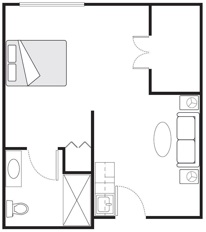 Alcove Floor plan | 414 sq. ft.
