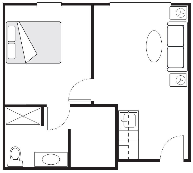 One-Bedroom Deluxe Floor Plans | 515 sq. ft.