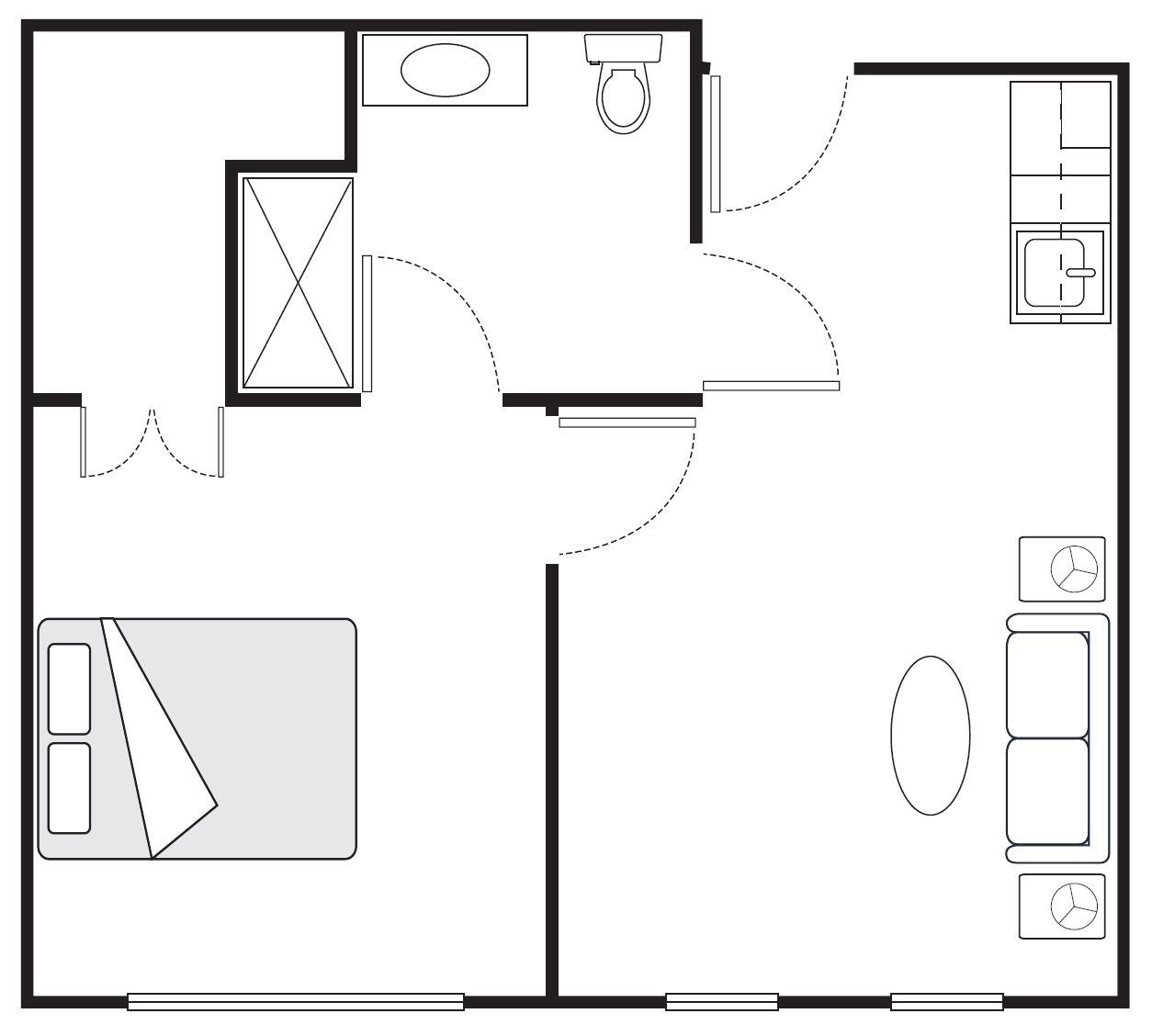 One-Bedroom Luxury Floor plan | 500 sq. ft.