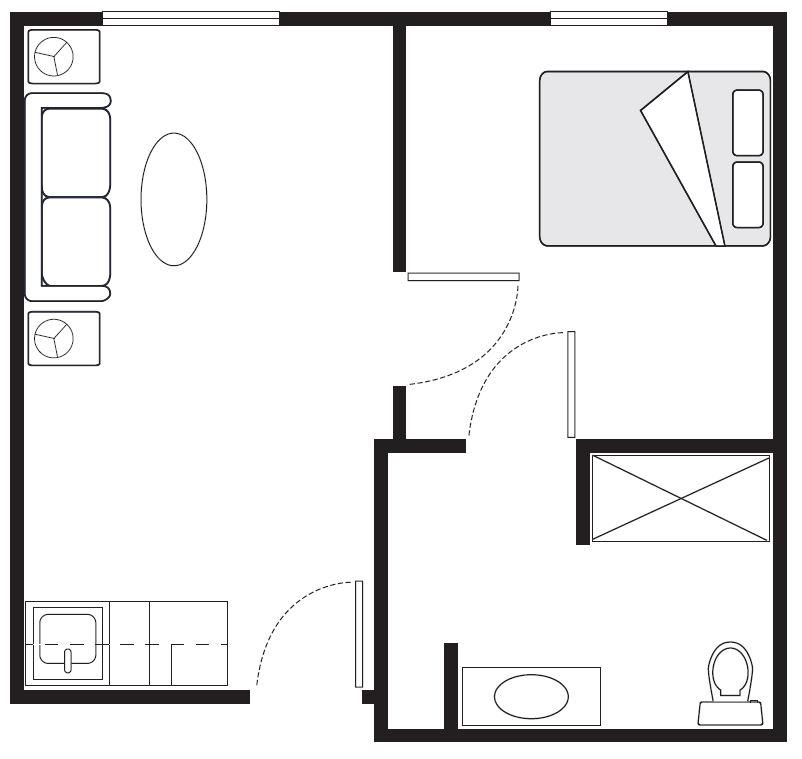 One-Bedroom Floor Plans | 400 sq. ft.