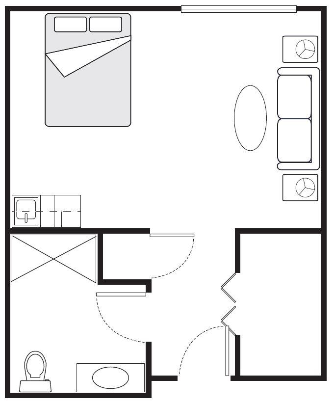 Studio Deluxe Floor Plans | 381 sq. ft.