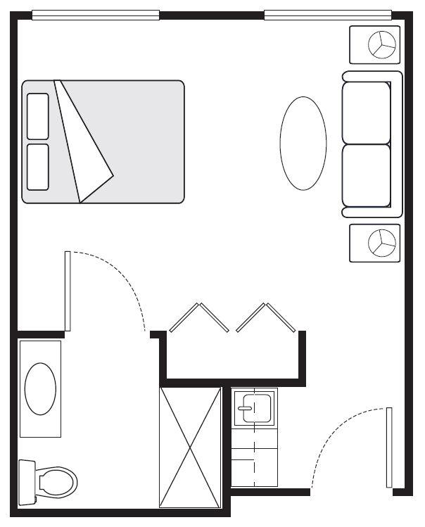 Studio Floor Plans | 272 sq. ft.